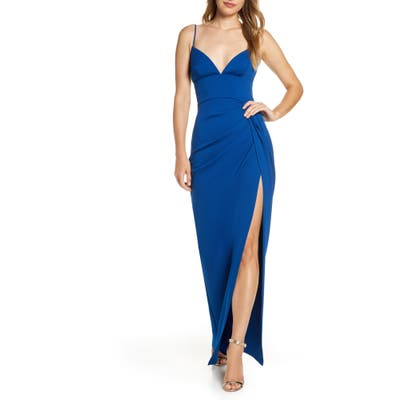 Katie May Reconcile Side Slit Column Gown, Blue