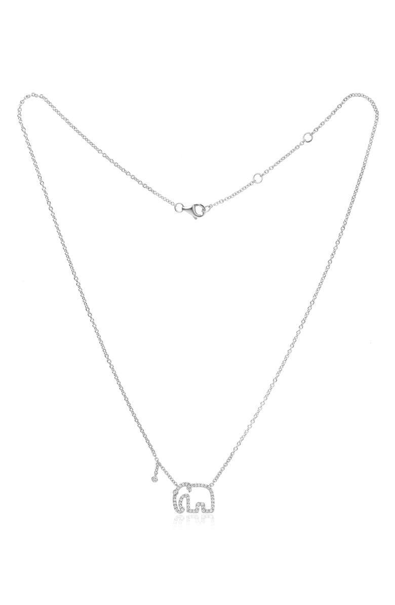 YVONNE LÉON Mini Elephant Grey Diamond Necklace, Main, color, WHITE GOLD