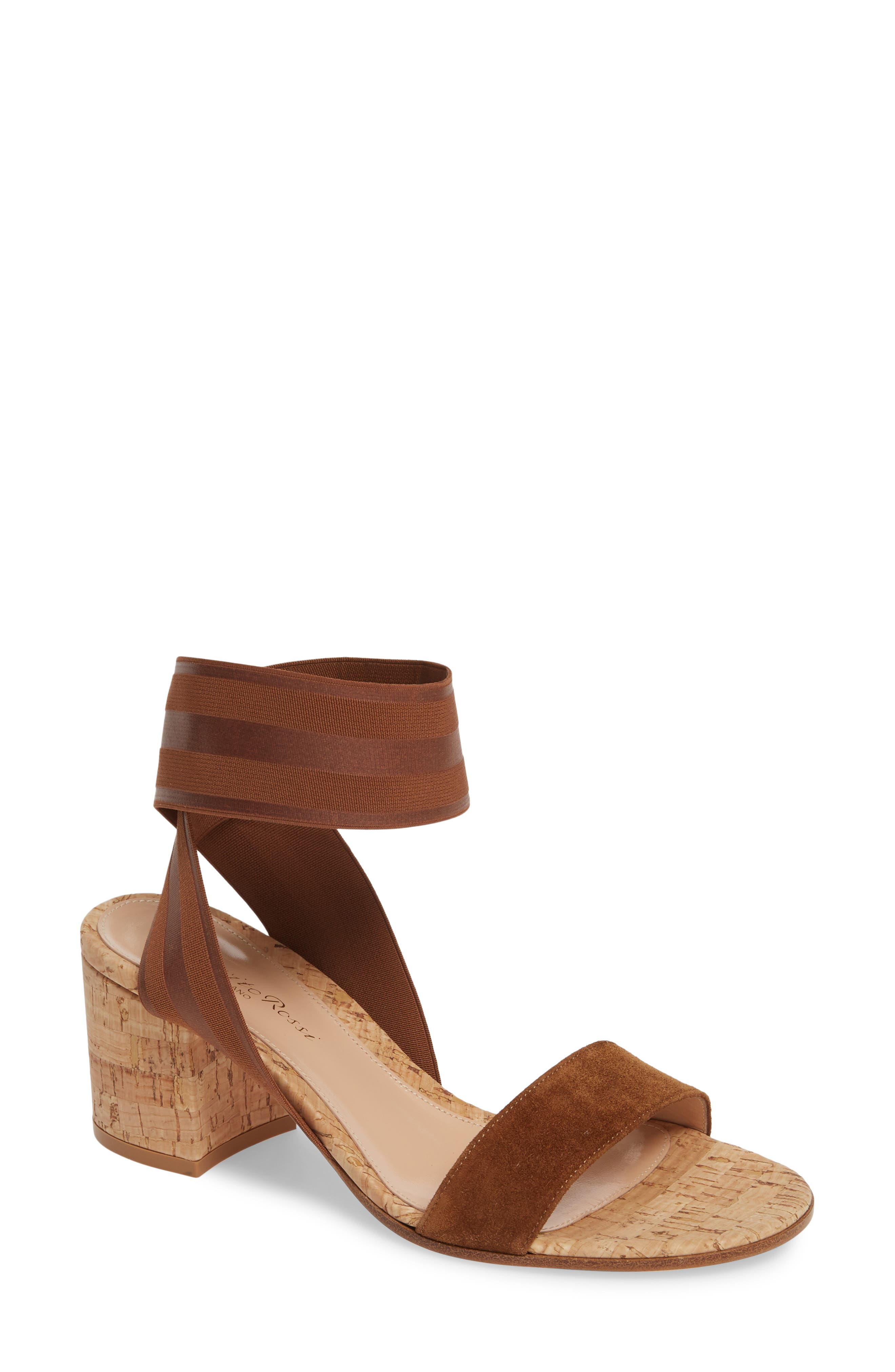 Gianvito Rossi Cork Heel Sandal - Brown