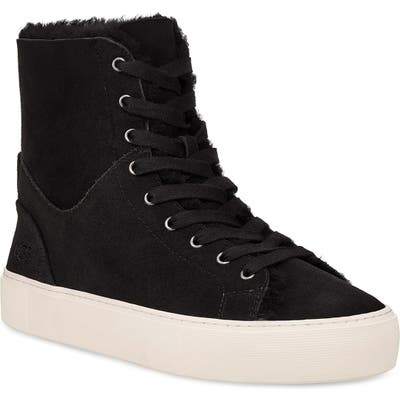 Ugg Beven Genuine Shearling High Top Sneaker- Black