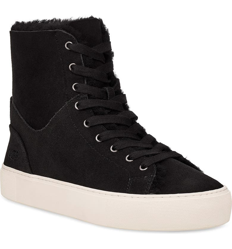 UGG<SUP>®</SUP> Beven Genuine Shearling High Top Sneaker, Main, color, BLACK SUEDE