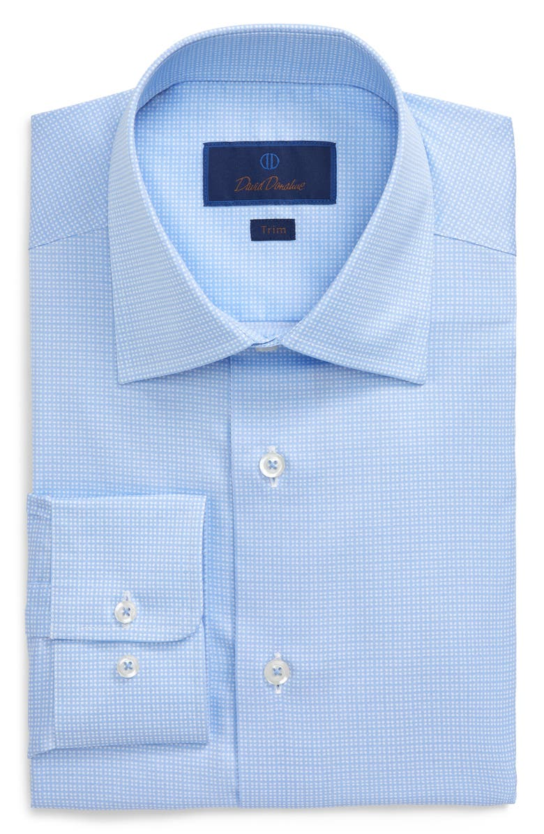 DAVID DONAHUE Trim Fit Dress Shirt, Main, color, BLUE
