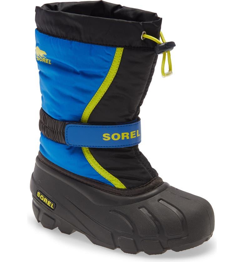 SOREL Flurry Weather Resistant Snow Boot, Main, color, BLACK/ SUPER BLUE MULTI
