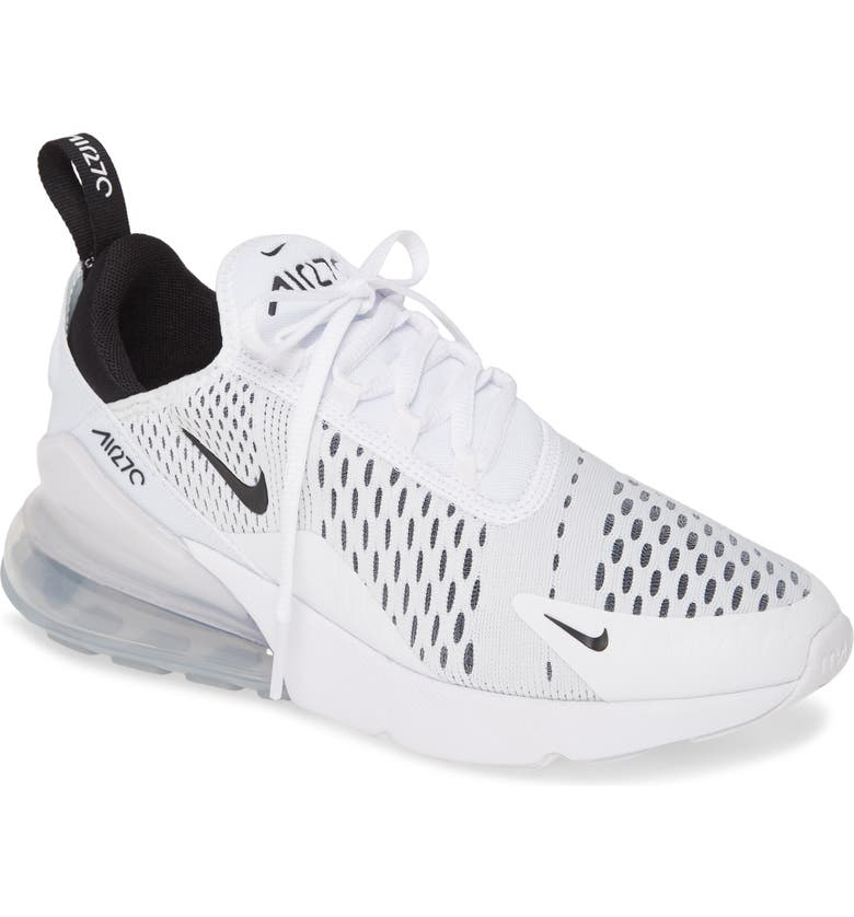 NIKE Air Max 270 Premium Sneaker, Main, color, WHITE/ BLACK/ WHITE