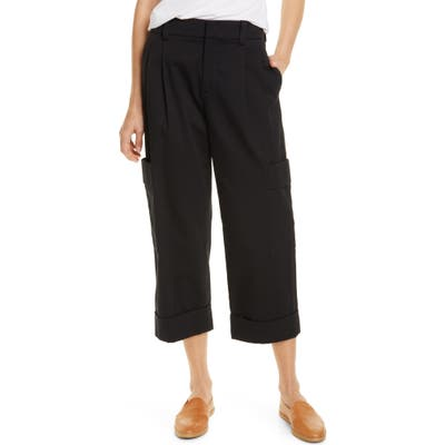 Vince Crop Cotton Cargo Pants, Black