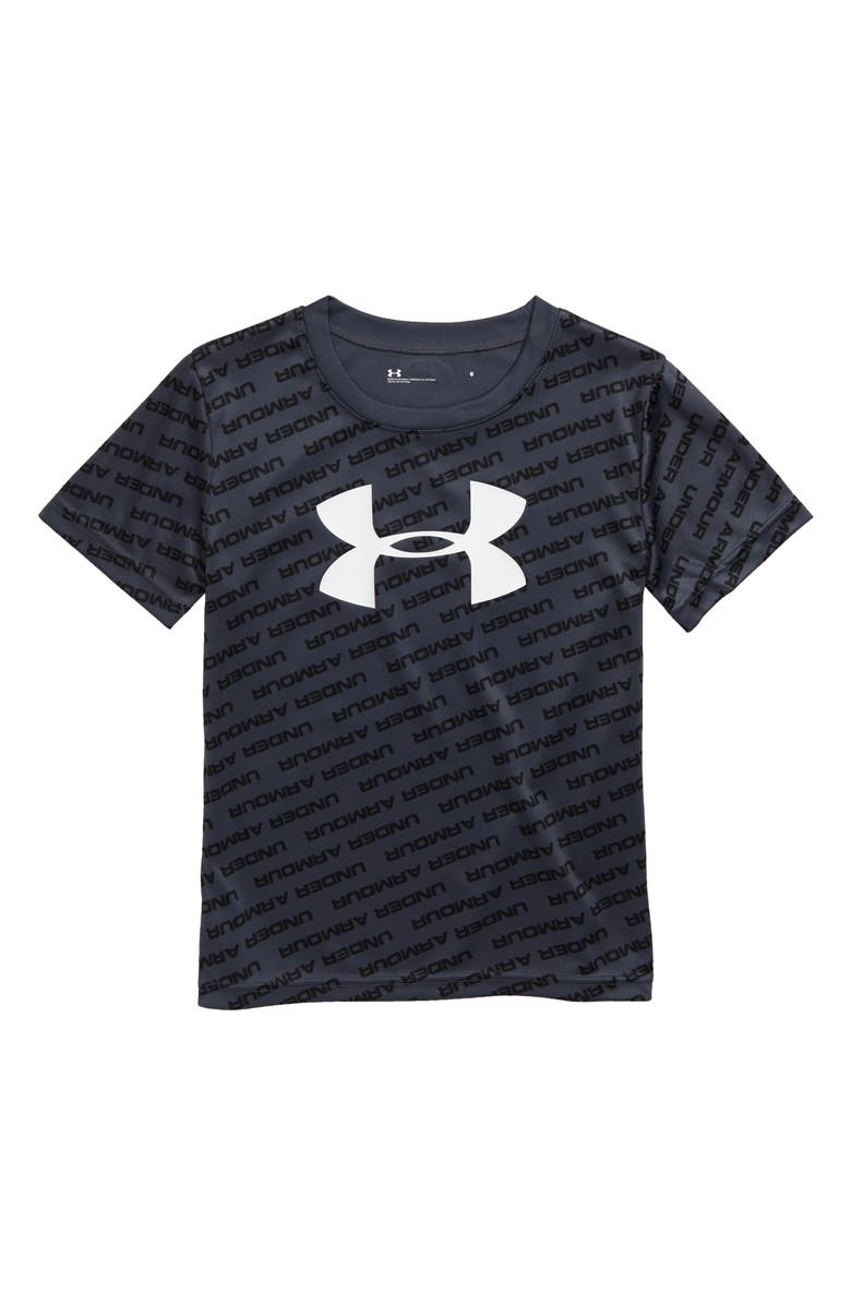 UNDER ARMOUR Tilted Logos T-Shirt, Main, color, WIRE