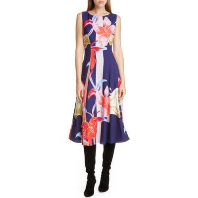 Etro Large Lily Print Crepe Midi Dress, 8 IT - Blue