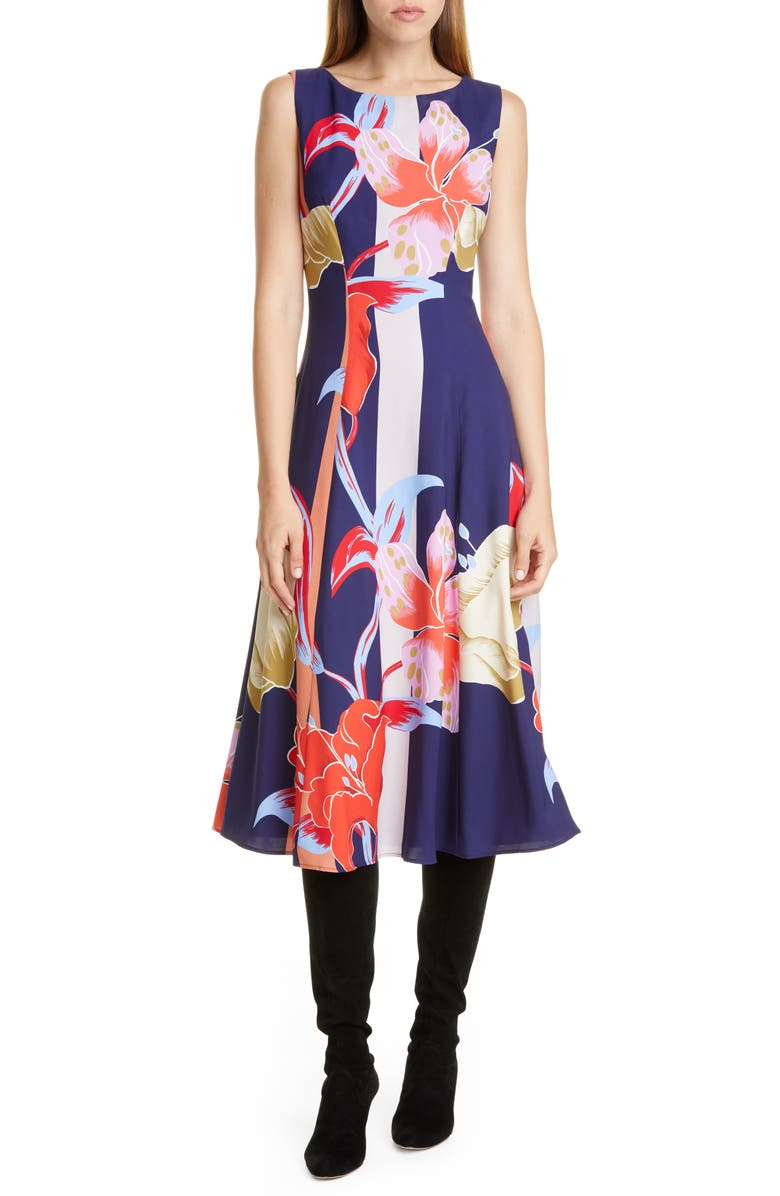 ETRO Large Lily Print Crepe Midi Dress, Main, color, 410