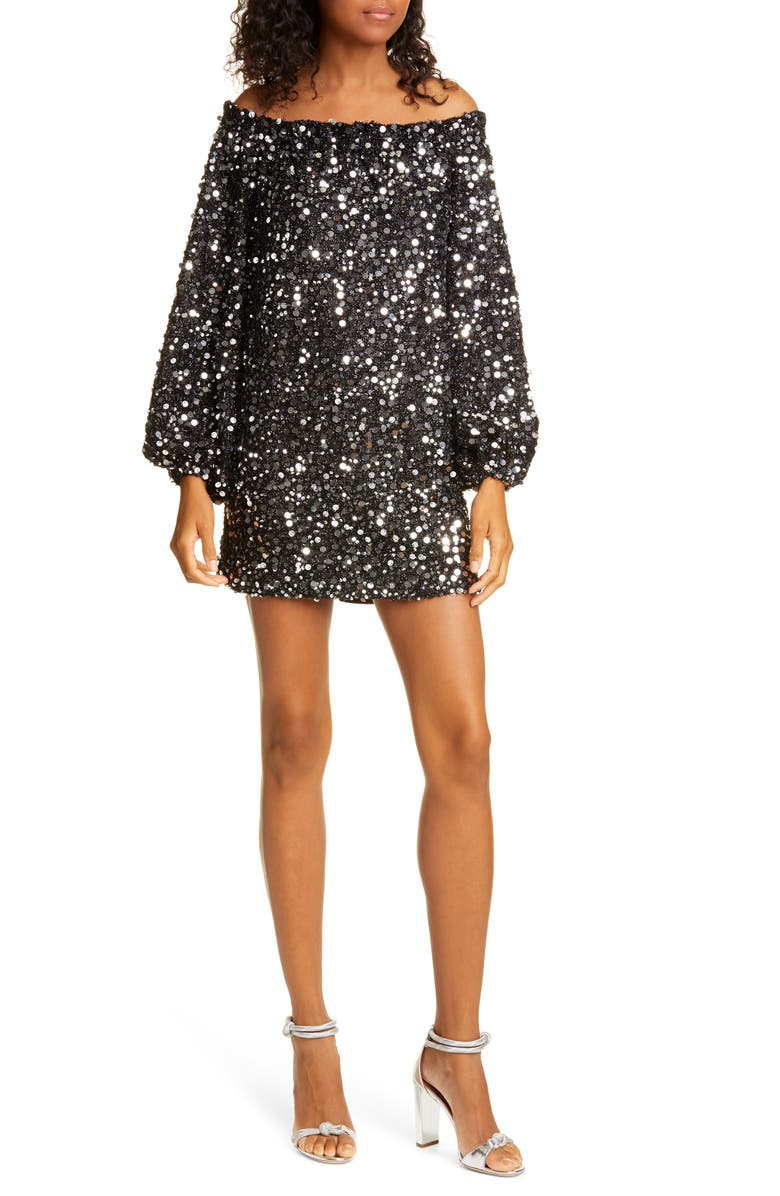 ROTATE Gloria Sequin Off the Shoulder Long Sleeve Minidress, Main, color, BLACK SILVER 5010