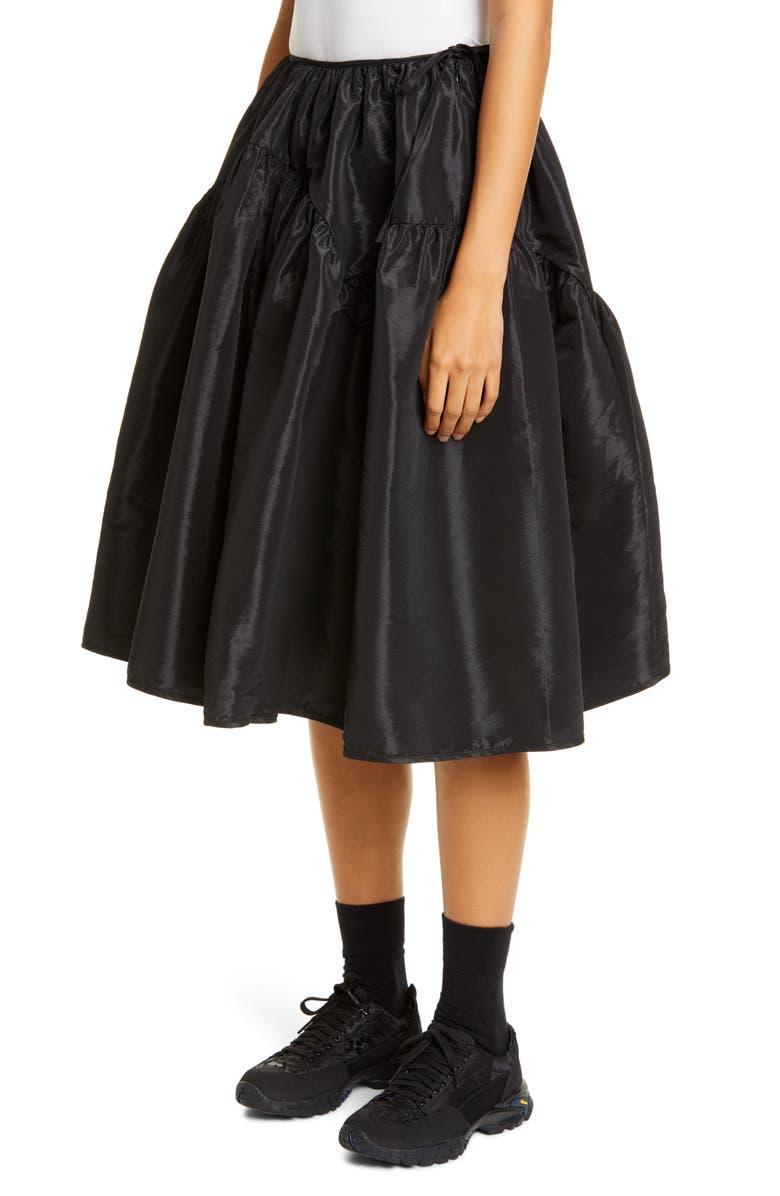 CECILIE BAHNSEN Tina Faille Skirt, Main, color, BLACK
