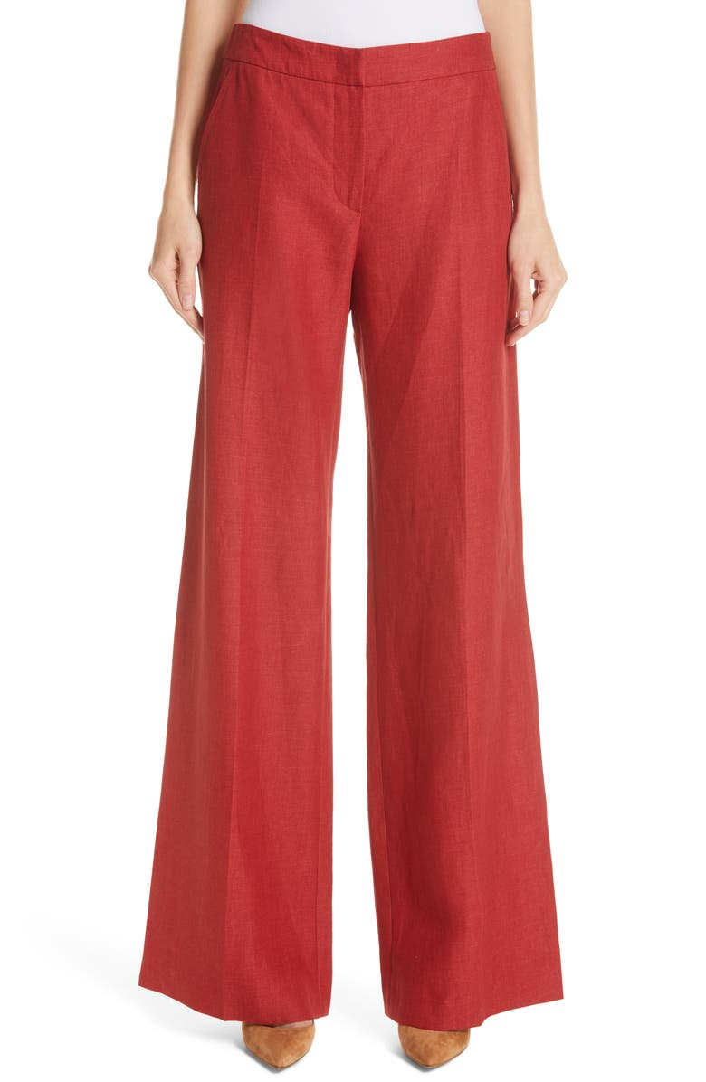 MAX MARA Patroni Wide Leg Linen Pants, Main, color, 600