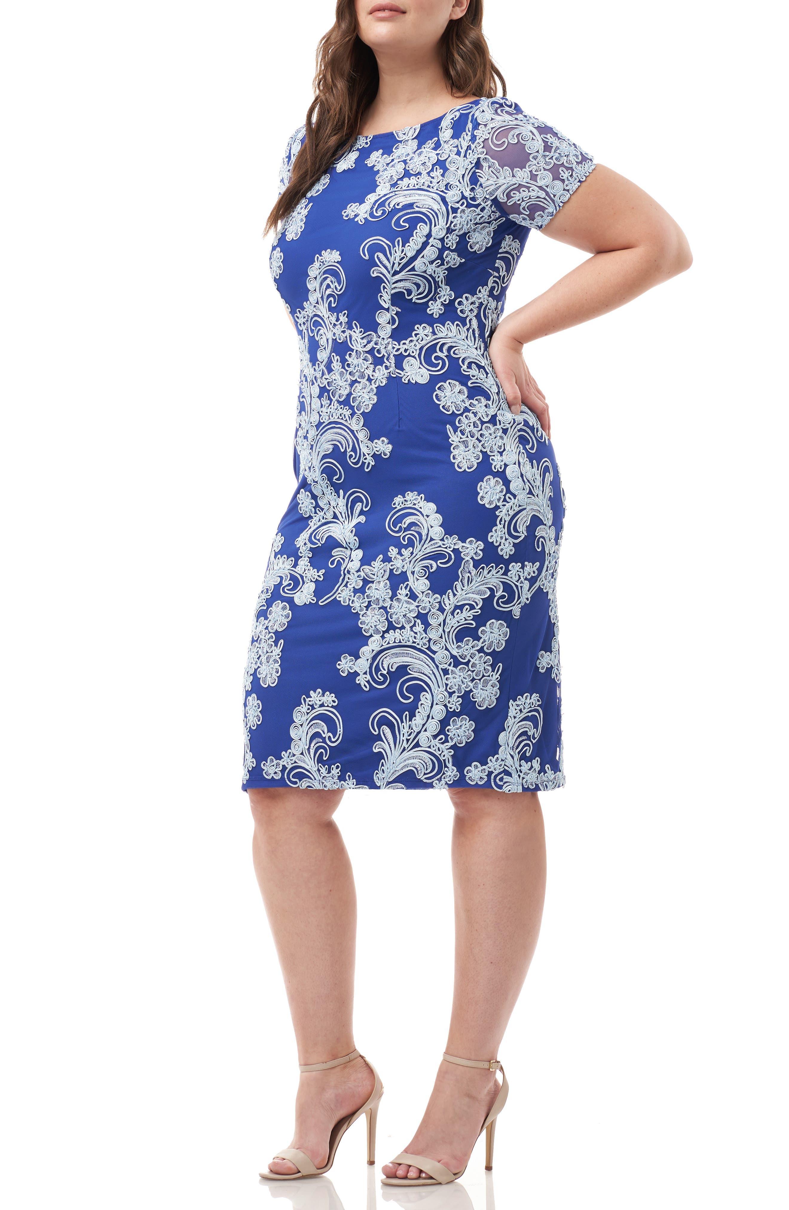 Plus Size Js Collections Soutache Cocktail Sheath Dress, Blue