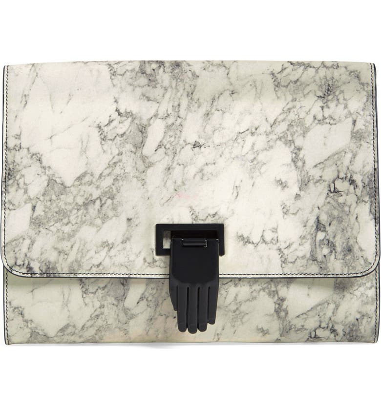 OPENING CEREMONY 'Nokki' Marbled Print LeatherClutch, Main, color, 100