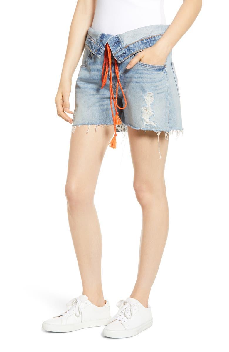 HUDSON JEANS Sloane Foldover Waist Cutoff Denim Shorts, Main, color, 421