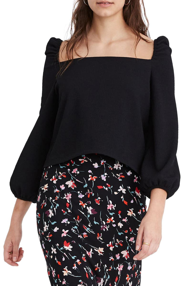 MADEWELL Crepe Square Neck Puff Sleeve Top, Main, color, TRUE BLACK