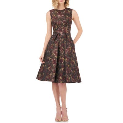 Kay Unger Adrianna Fit & Flare Dress, Burgundy