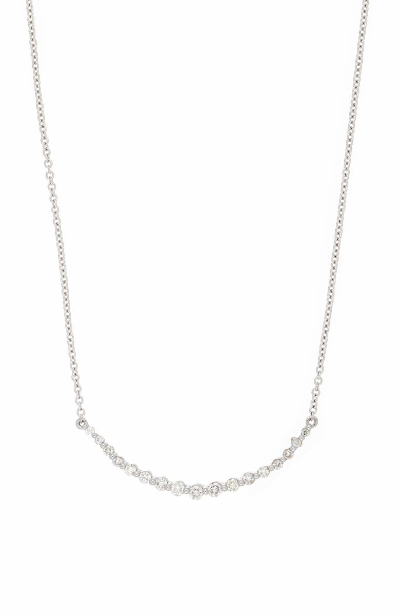 BONY LEVY Liora Diamond Curved Bar Necklace, Main, color, WHITE GOLD/ DIAMOND