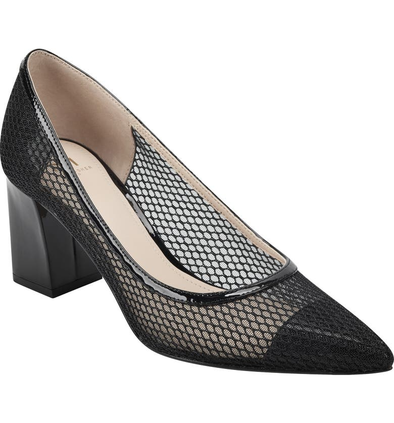 MARC FISHER LTD Zesty Pointy Toe Pump, Main, color, BLACK FABRIC