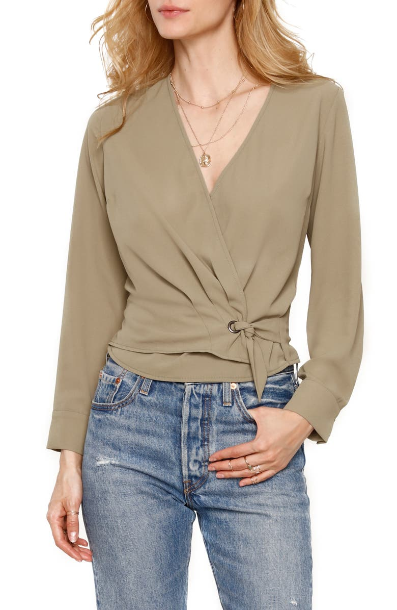 HEARTLOOM Dale Wrap Front Long Sleeve Top, Main, color, OLIVE