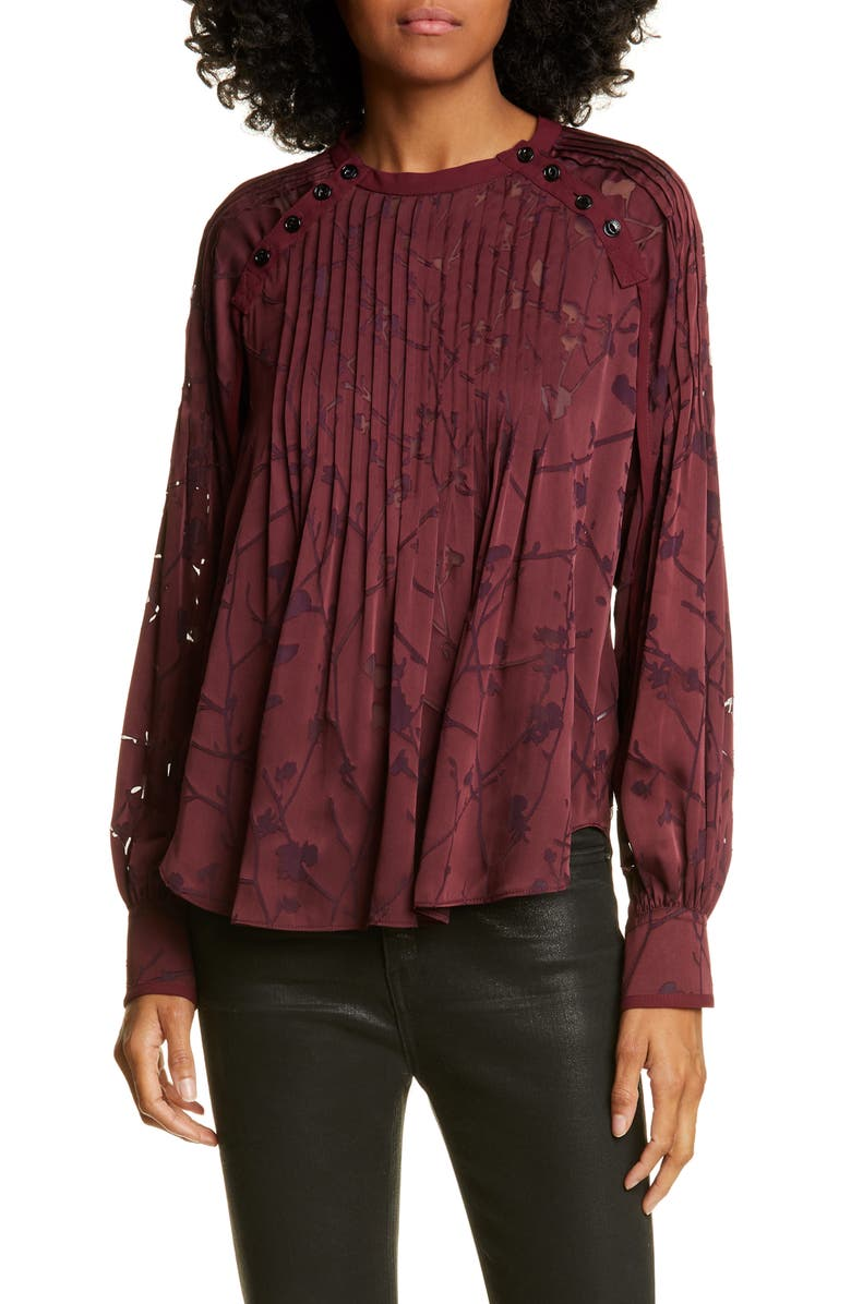 RAG & BONE Rubie Floral Burnout Blouse, Main, color, BLKCHERRY
