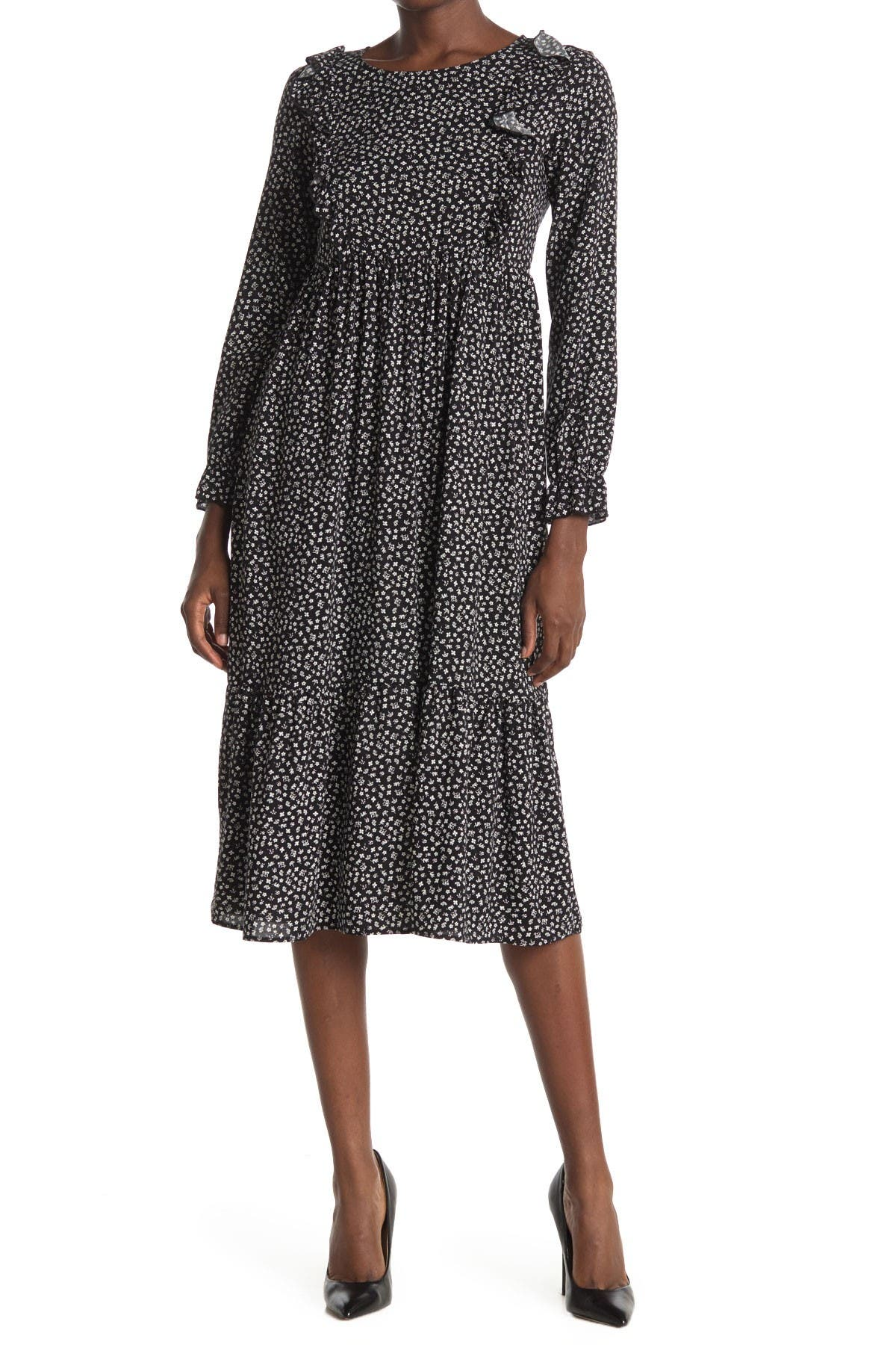 Image of Velvet Torch Printed Ruffle Midi Dress