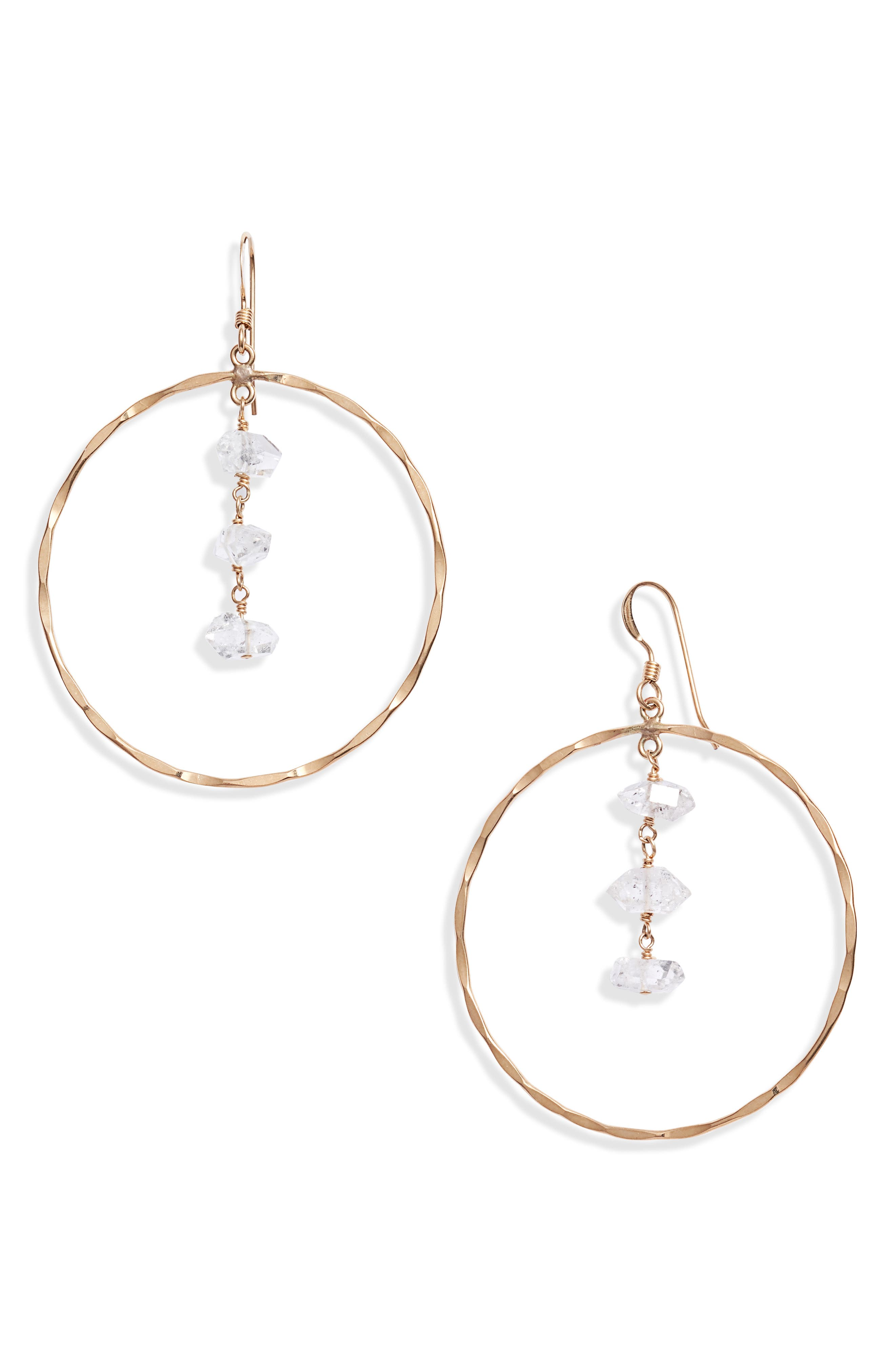 Herkimer diamonds shimmer within hammered hoops in these pretty drop earrings that are handmade in the USA. Style Name: Set & Stones Marren Drop Hoop Earrings. Style Number: 5966478. Available in stores.
