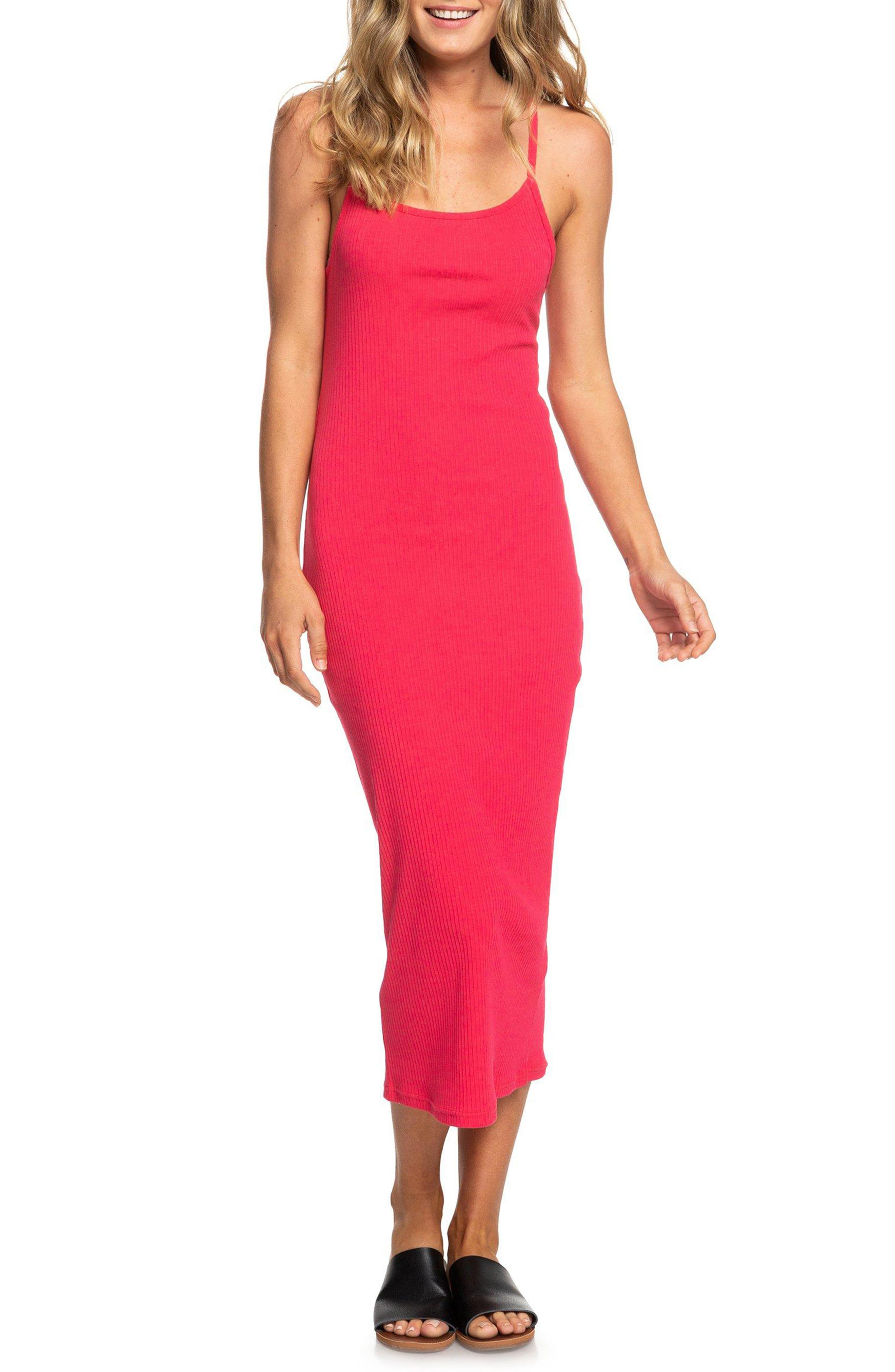 Roxy Likely Me Cutout Ribbed Midi Dress, Pink