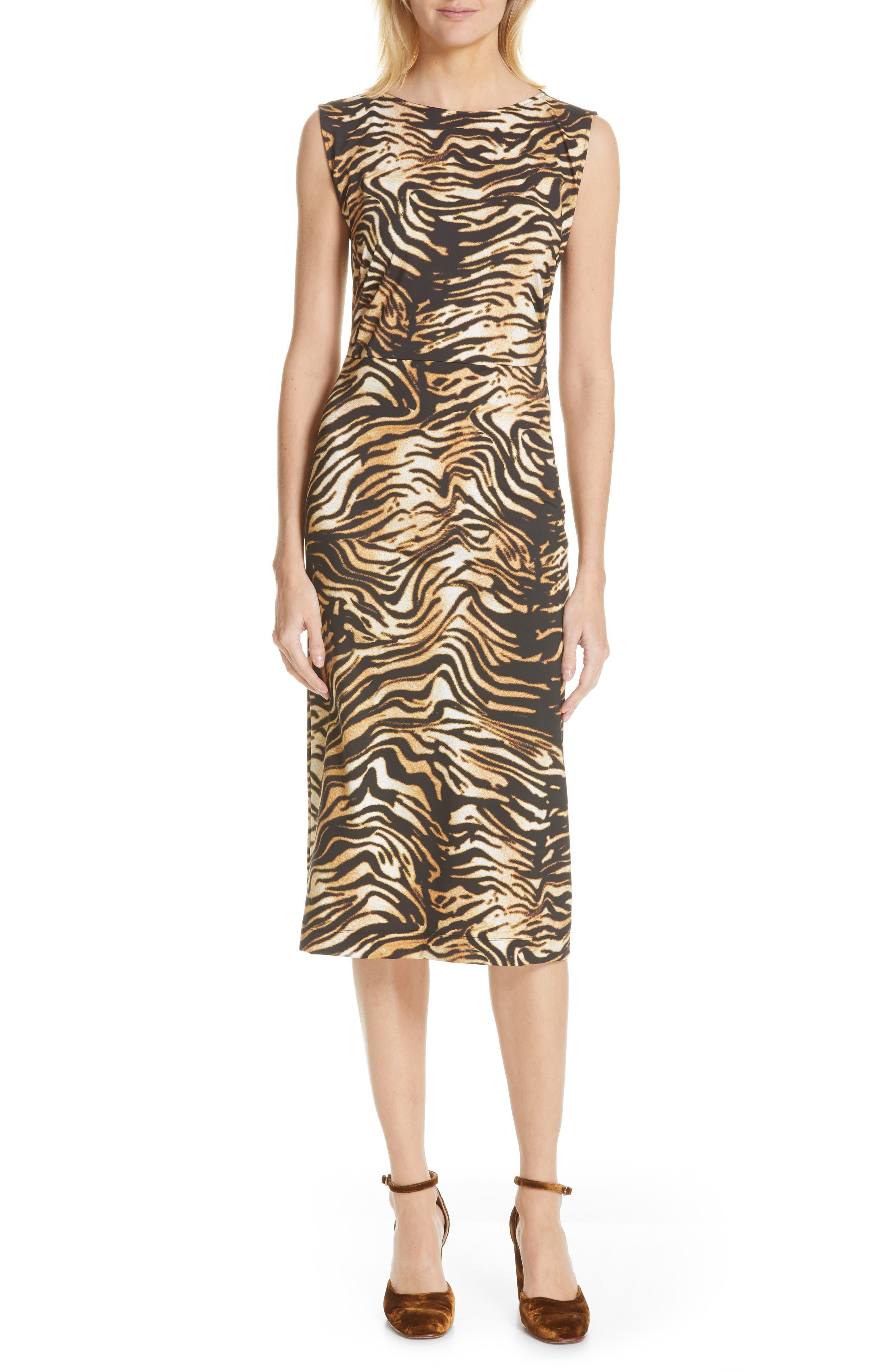 Rachel Comey Medina Tiger Print Sheath Dress, Brown