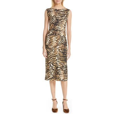 Rachel Comey Medina Tiger Print Sheath Dress, Brown