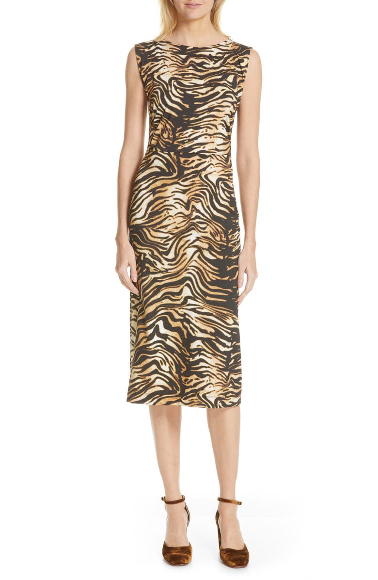 RACHEL COMEY Medina Tiger Print Sheath Dress, Main, color, BROWN