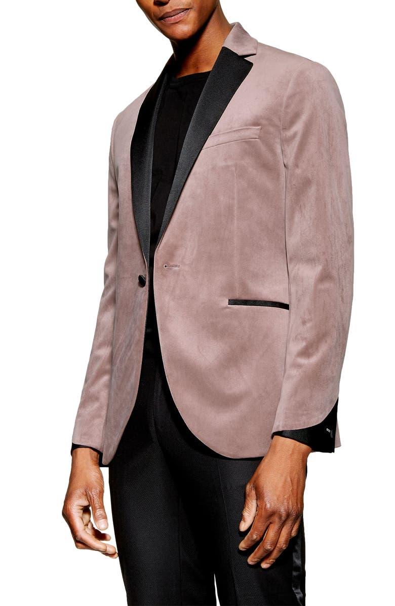 TOPMAN Skinny Fit Velvet Dinner Jacket, Main, color, 250