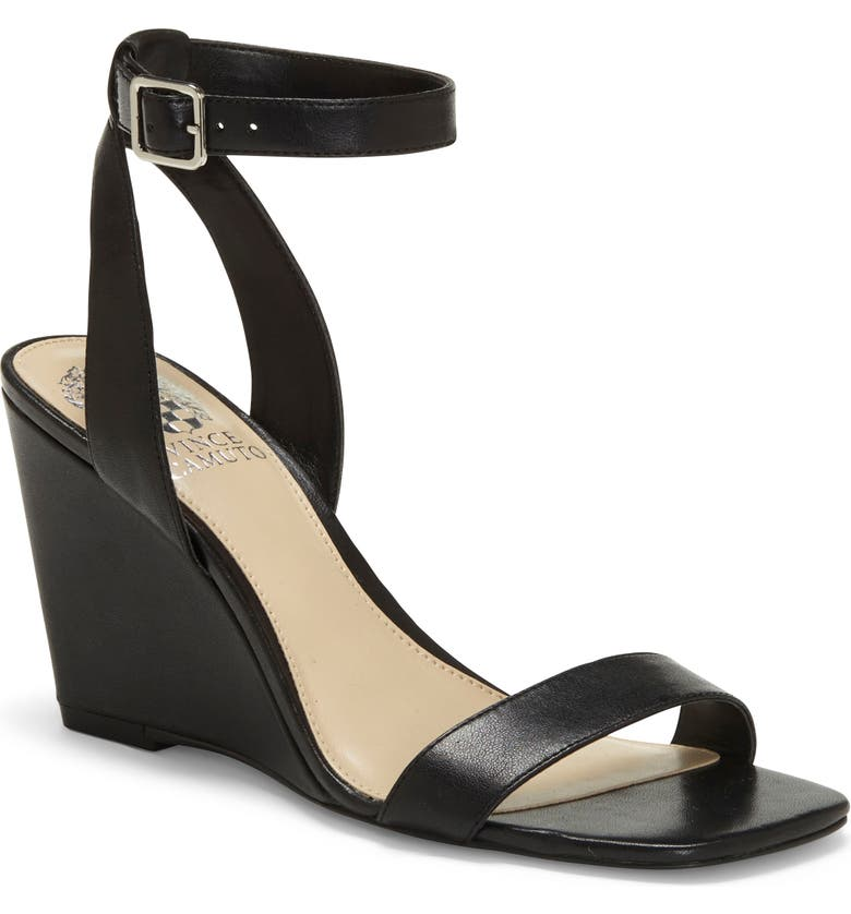 VINCE CAMUTO Gallanna Wedge Sandal, Main, color, BLACK LEATHER
