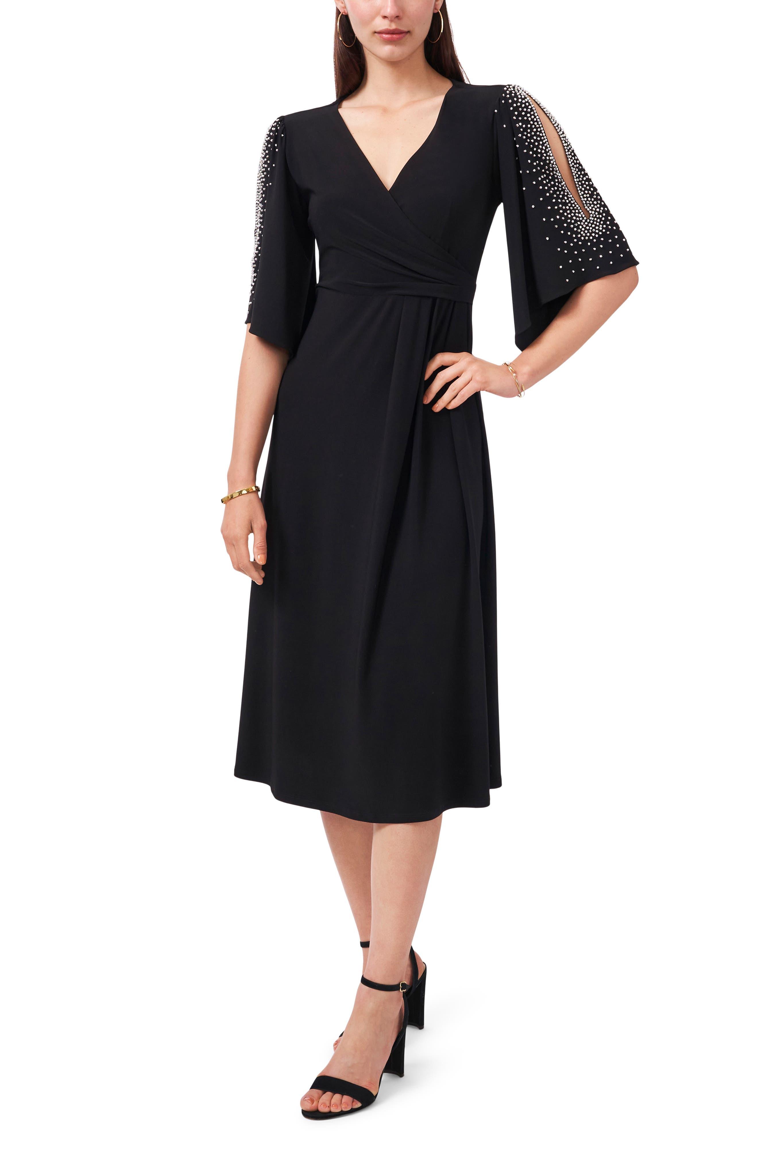 Split Sleeve Beaded Midi Dress