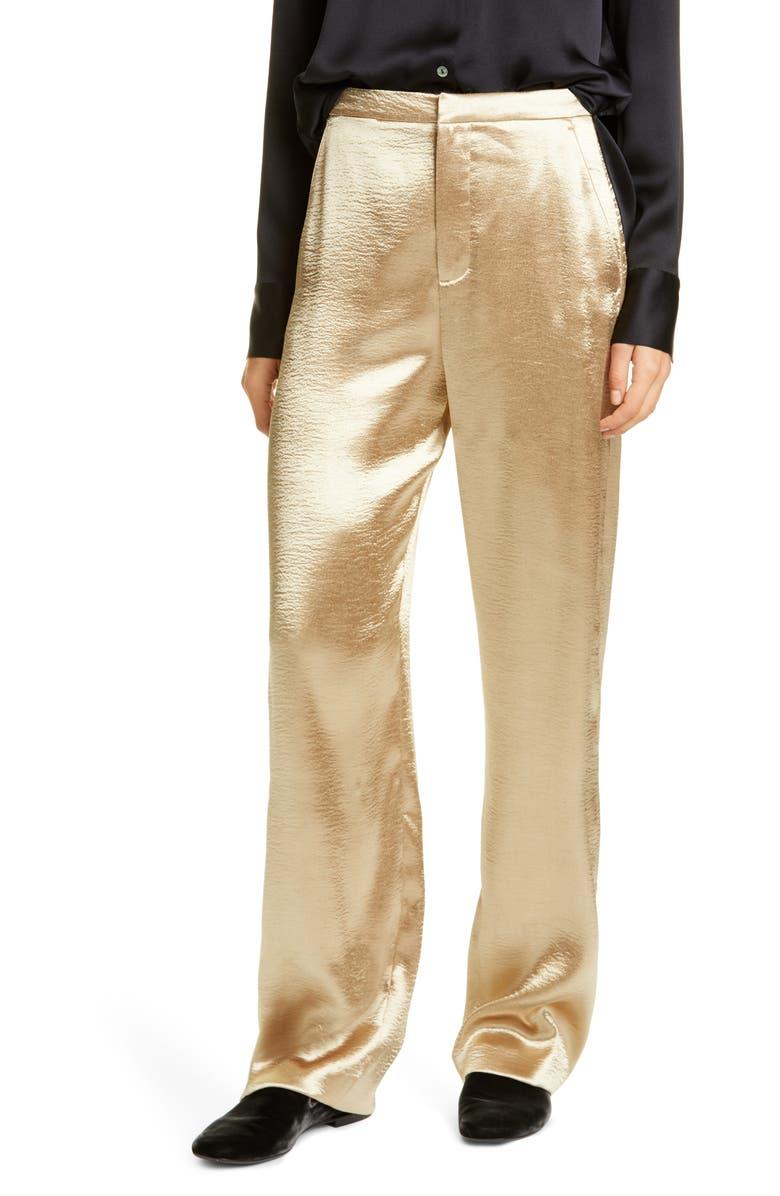 VINCE Metallic Wide Leg Pants, Main, color, PALE GOLD