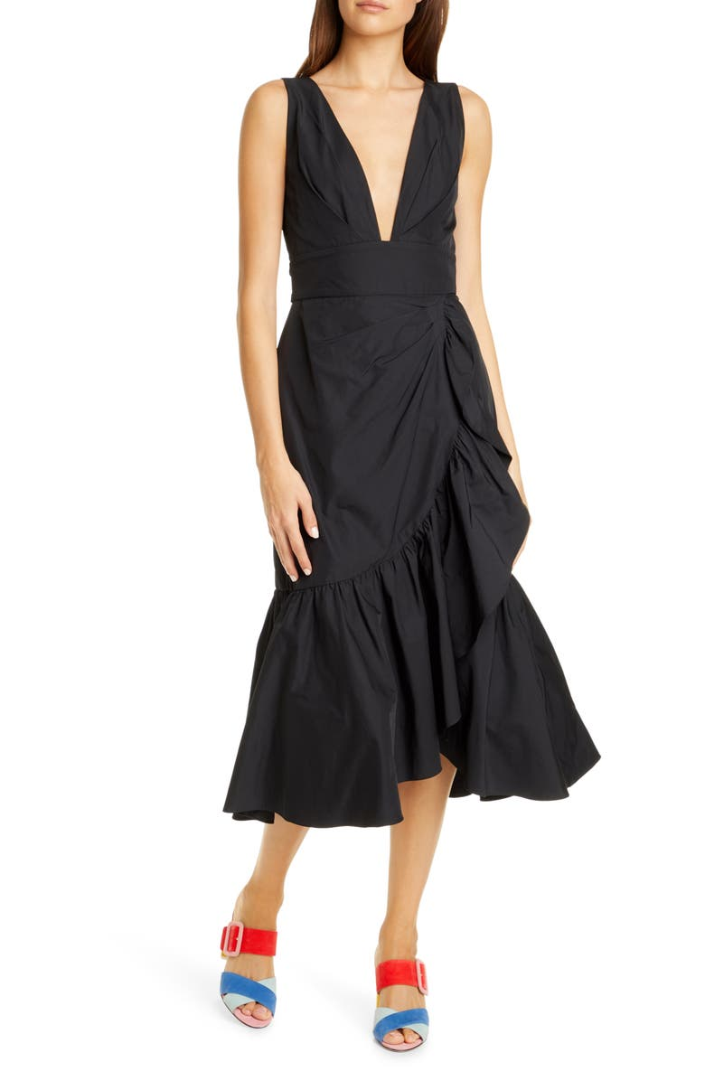 REBECCA TAYLOR Sleeveless Taffeta Dress, Main, color, BLACK