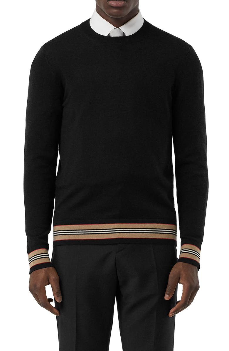 BURBERRY Barner Crewneck Sweater, Main, color, BLACK