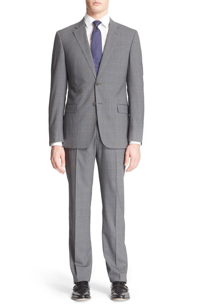 EMPORIO ARMANI Armani Collezioni 'G-Line' Trim Fit Plaid Wool Suit, Main, color, 031