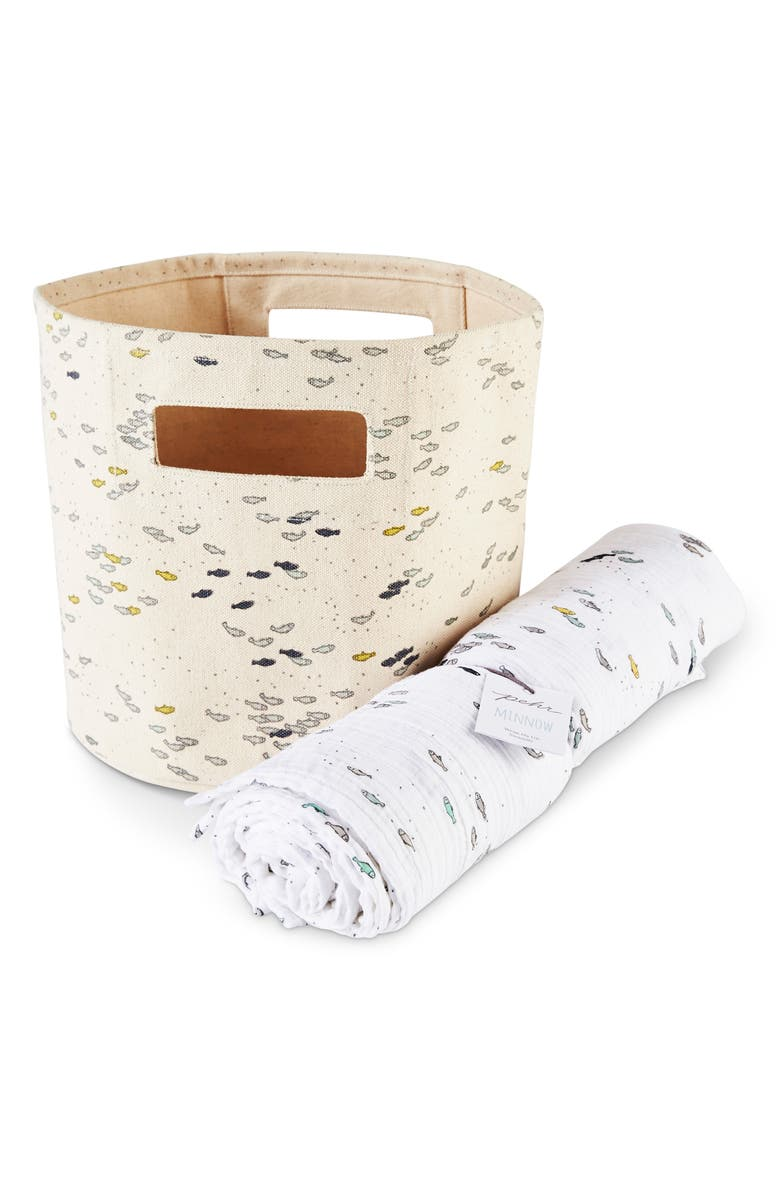 PEHR Minnow Canvas Bin & Swaddle Set, Main, color, 900