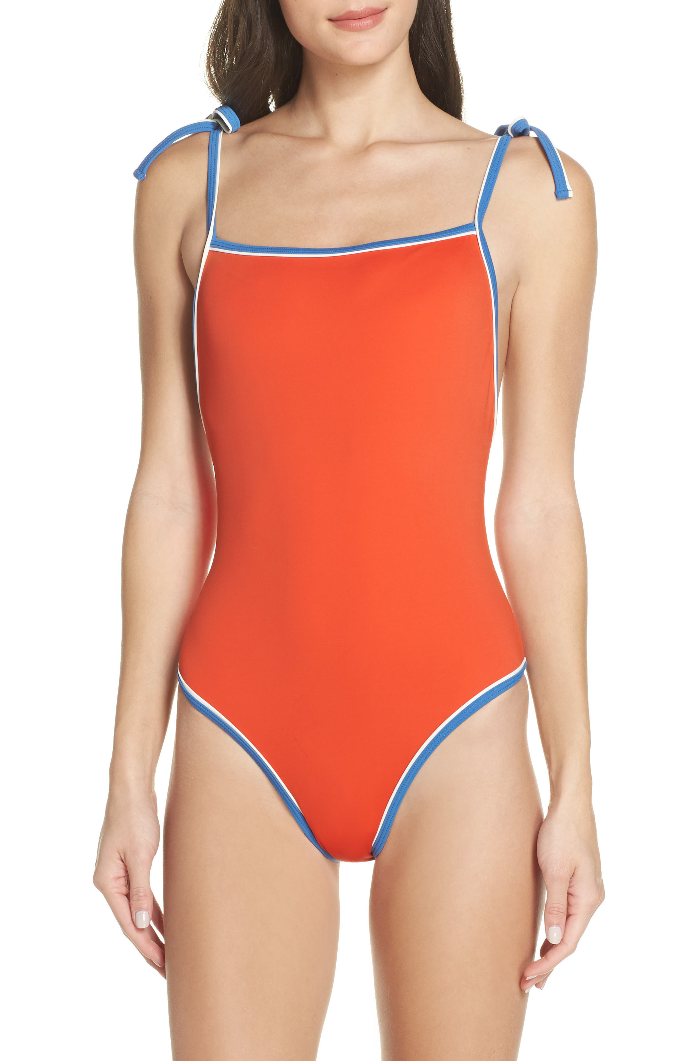 Solid & Striped The Poppy One-Piece Swimsuit, Red