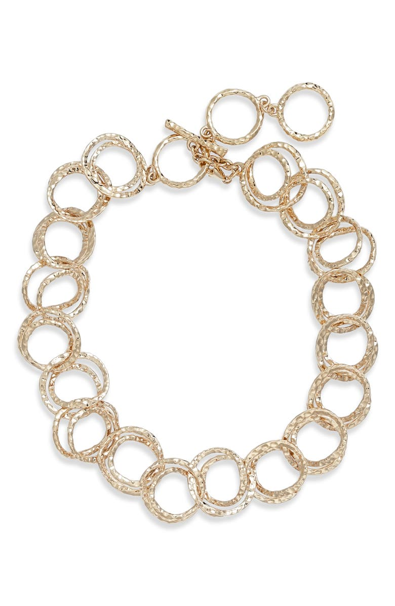 ALEXIS BITTAR Hammered Coil Collar Necklace, Main, color, GOLD