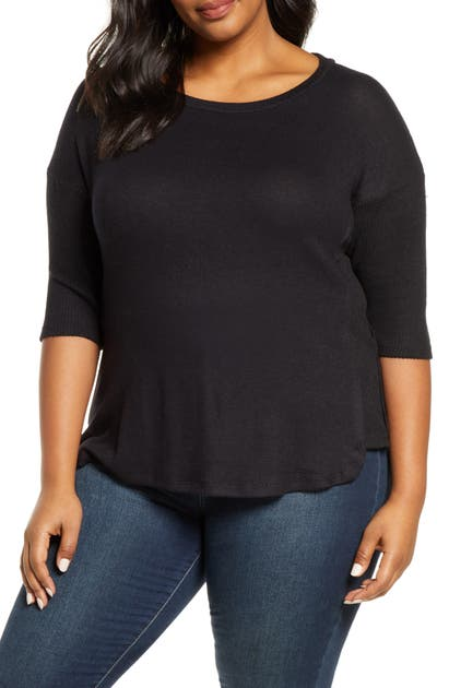 Bobeau Tops RENEE COZY RIB CONTRAST DETAIL TOP