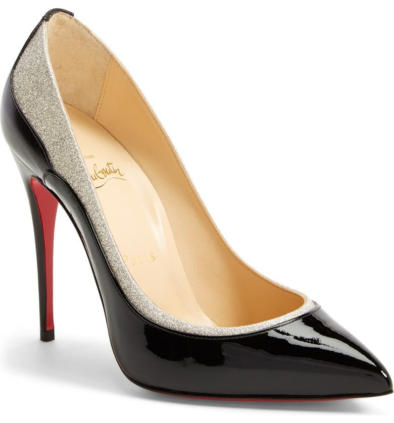 CHRISTIAN LOUBOUTIN 'Tucsick' Glitter Pointy Toe Pump, Main, color, 001
