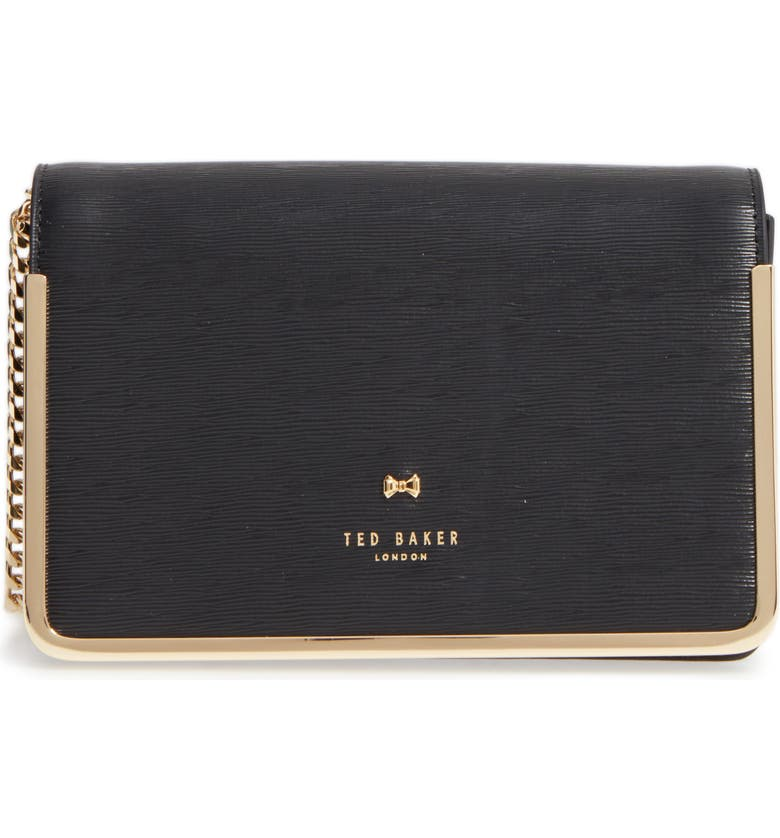 TED BAKER LONDON Highbox Leather Convertible Clutch, Main, color, 001