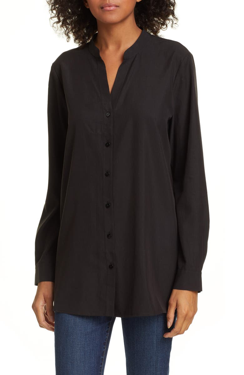 EILEEN FISHER Mandarin Collar Shirt, Main, color, 001