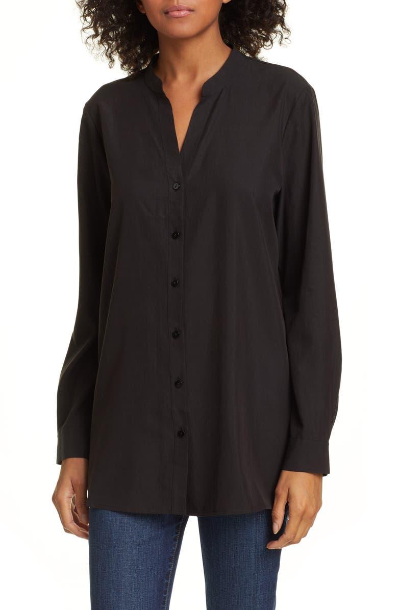 6d6bcdcee63 Eileen Fisher Mandarin Collar Shirt (Regular & Petite) | Nordstrom