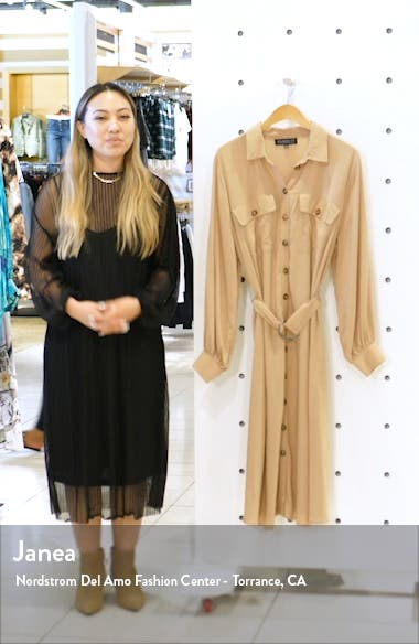 Utility Belted Long Sleeve Midi Shirtdress, sales video thumbnail