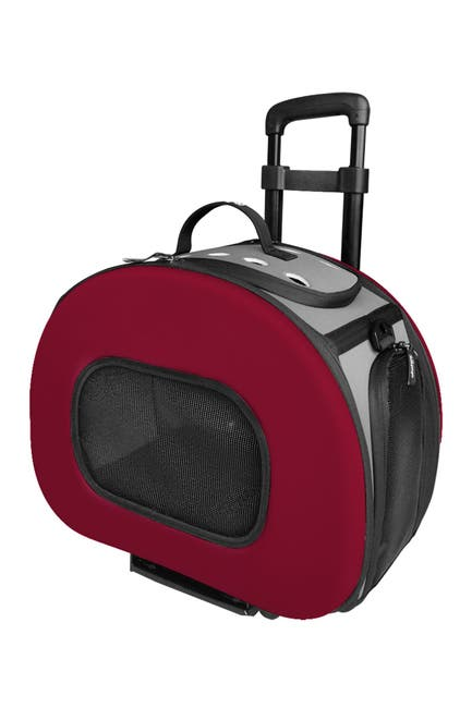 Image of Pet Life Red Tough-Shell Wheeled Collapsible Final Destination Pet Carrier