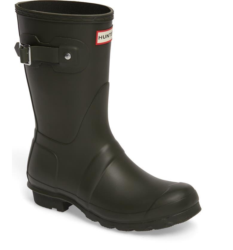 HUNTER Original Short Waterproof Rain Boot, Main, color, DARK OLIVE