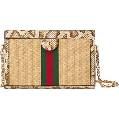 Gucci Ophidia Genuine Snakeskin & Straw Shoulder Bag - Ivory