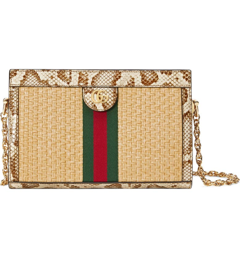 GUCCI Ophidia Genuine Snakeskin & Straw Shoulder Bag, Main, color, NATURAL/ CREAM BROWN/ VERT RED